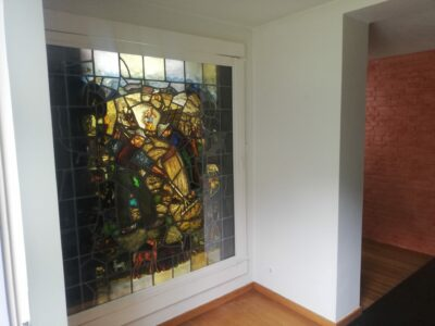 helder glas, tekening in glas, glas in lood, staal, stalen deur, helder glas